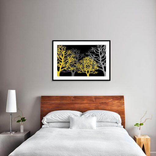 plakat żółte drzewa