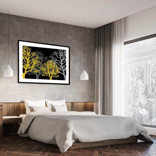 plakat z motywem drzew nad łóżko