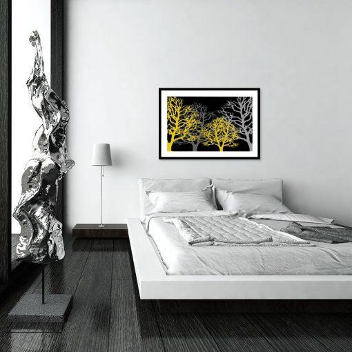 plakat z motywem drzew