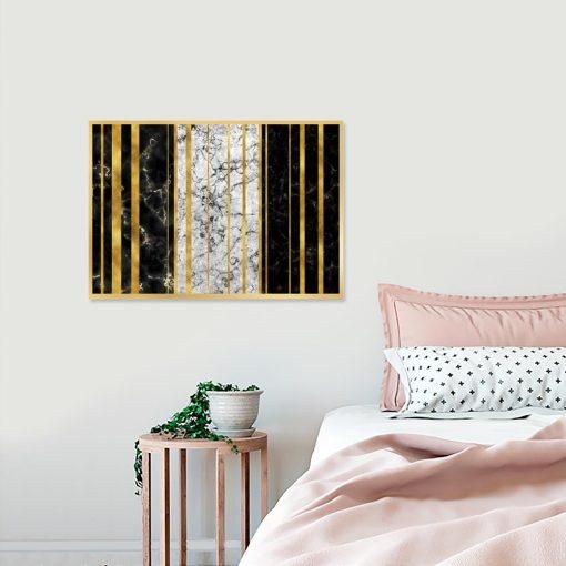 plakat z abstrakcyjnym wzorem nad łóżko