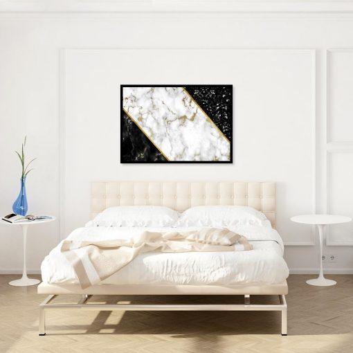 plakat z abstrakcją marmurkową na ścianie sypialni