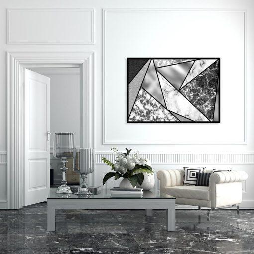 plakat marmurkowe trójkąty na ścianę salonu