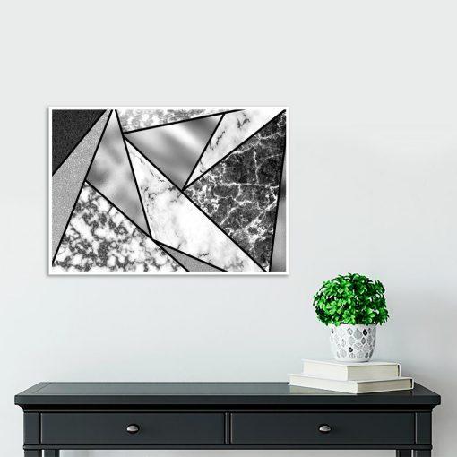 plakat z abstrakcją nad stolik