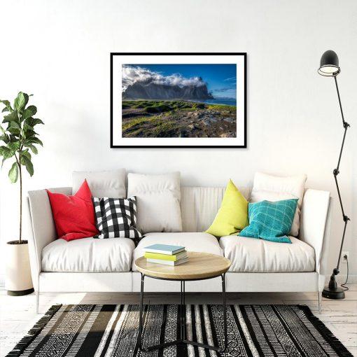 plakat z widokiem na Islandię w salonie