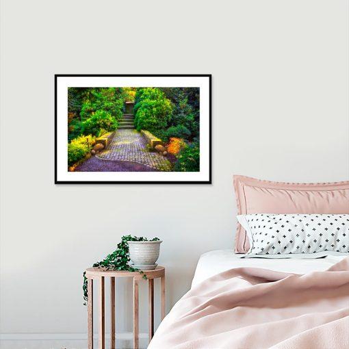 plakat botaniczny w sypialni