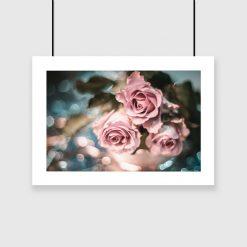 plakat i róże na ścianę