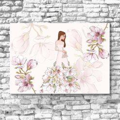 Plakat z lalką i magnolią