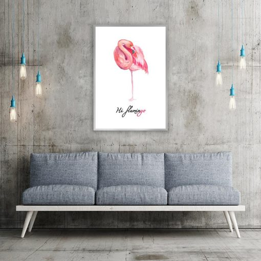 Plakat różowy flaming