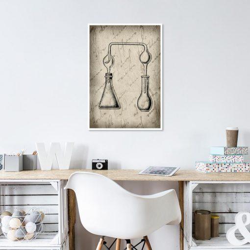 Plakat beżowy z motywem chemii