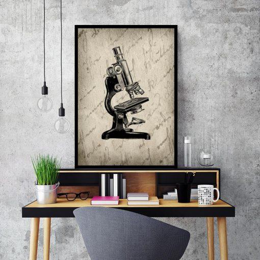 Plakat z mikroskopem