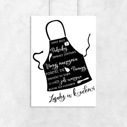 Plakat z fartuchem i zasadami w kuchni
