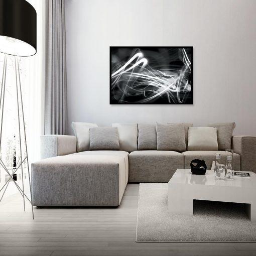 plakat z abstrakcją w salonie