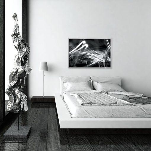 plakat czarno biała abstrakcja nad łóżko