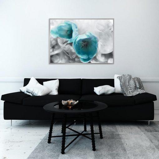 plakat kwiaty nad kanapę