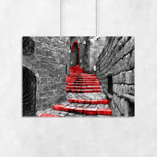 plakat czerwone schody na ścianę