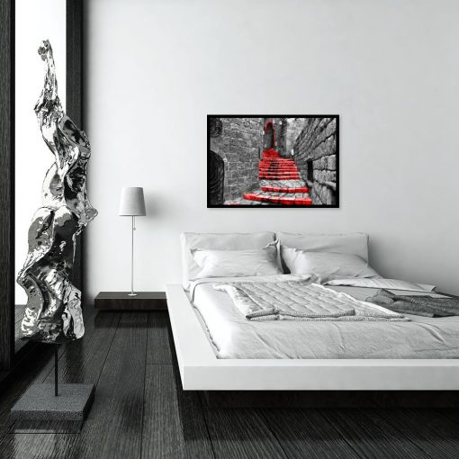 plakat z motywem schodów nad łóżko