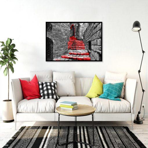 plakat czerwone schody nad kanapę