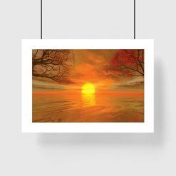 plakat jesienny zachód słońca na ścianę