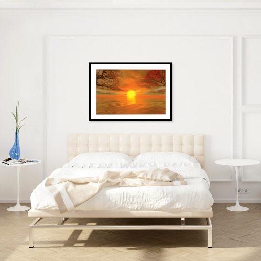 plakat z widokiem na morze w sypialni