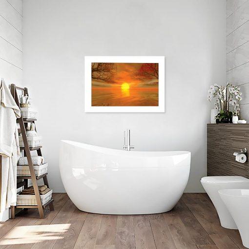 plakat z jesiennym klimatem w łazience