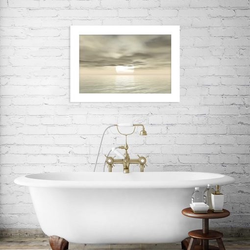 plakat z mroźnym wschodem słońca w łazience
