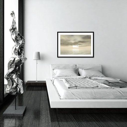plakat w morskim klimacie w sypialni