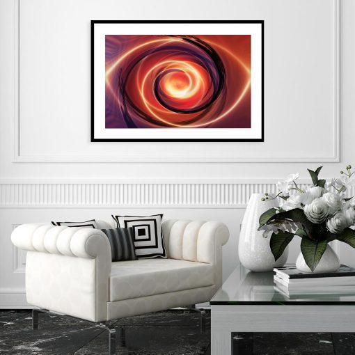plakat z abstrakcyjnym wzorem na ścianie