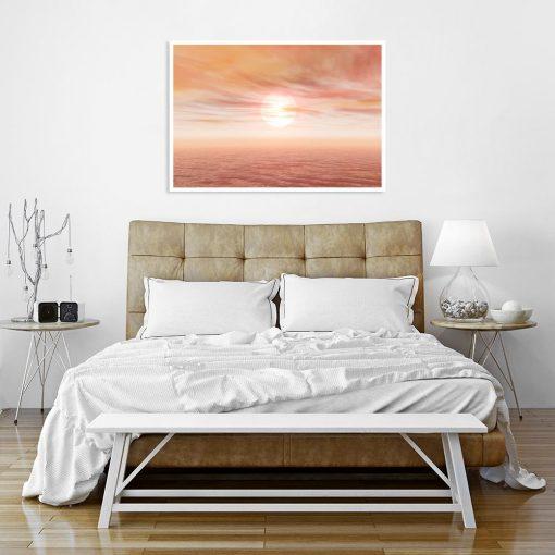 plakat z motywem morskim nad łóżko