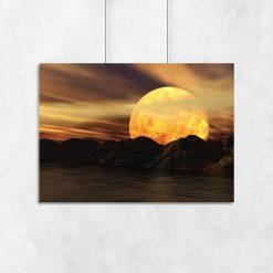 plakat księżyc za górami na ścianę