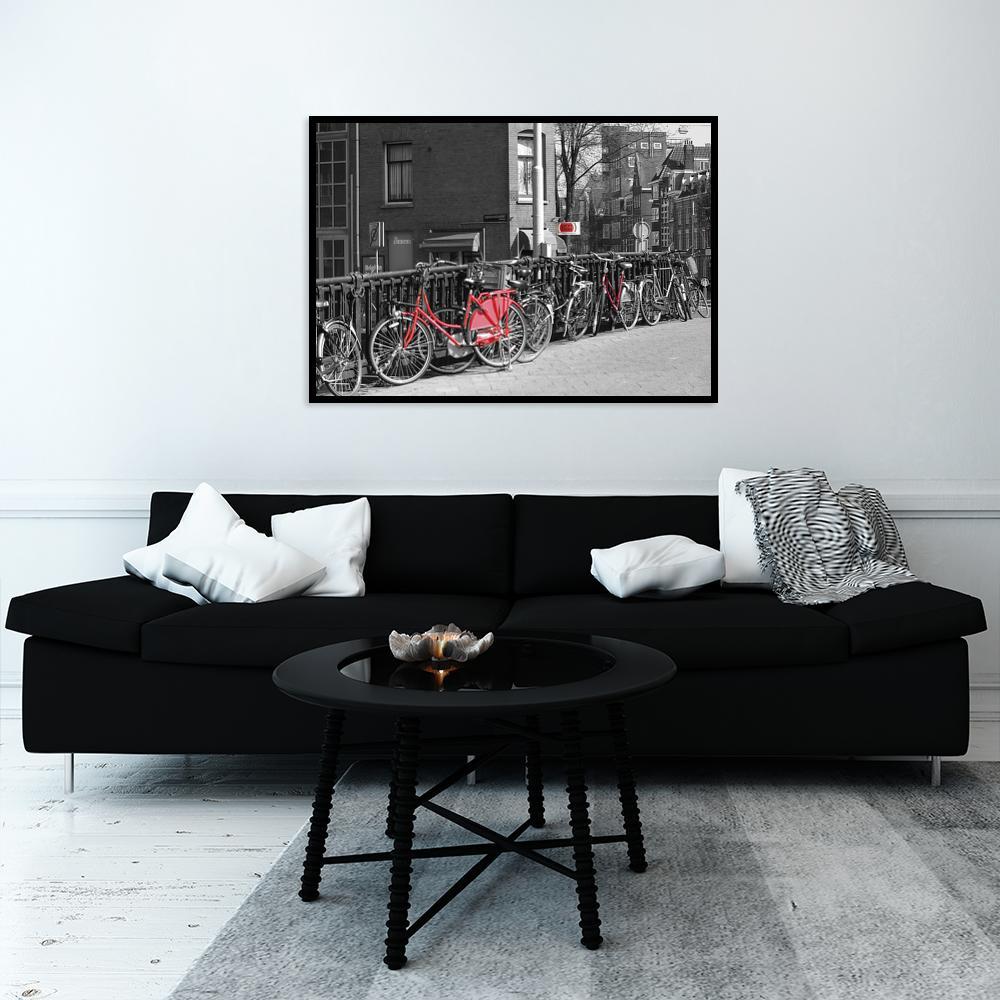 plakat rowery w mieście na ścianę
