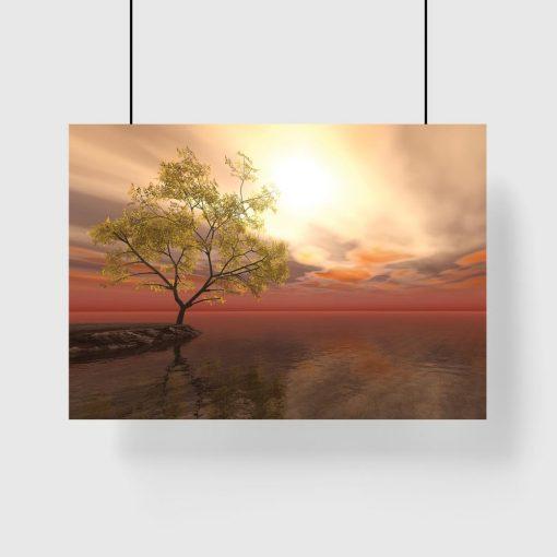 plakat z drzewem na ścianę