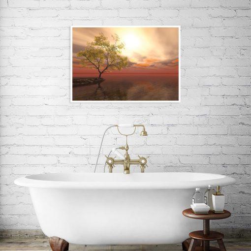 plakat z motywem drzewa w łazience