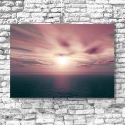 plakat z zachodzącym słońcem i morzem