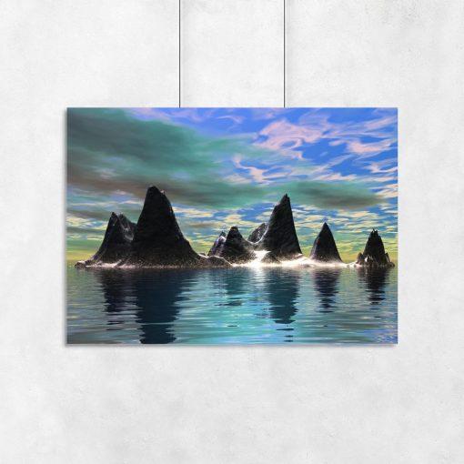 skały na tle kolorowego nieba na plakacie