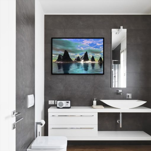 plakat z krajobrazem do wc