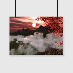 plakat z pięknym widokiem na góry