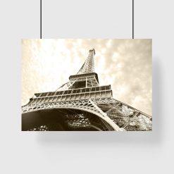 wieża Eiffla od dołu na plakacie