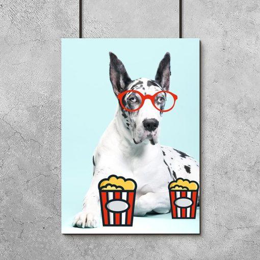 pies w okularach plakat