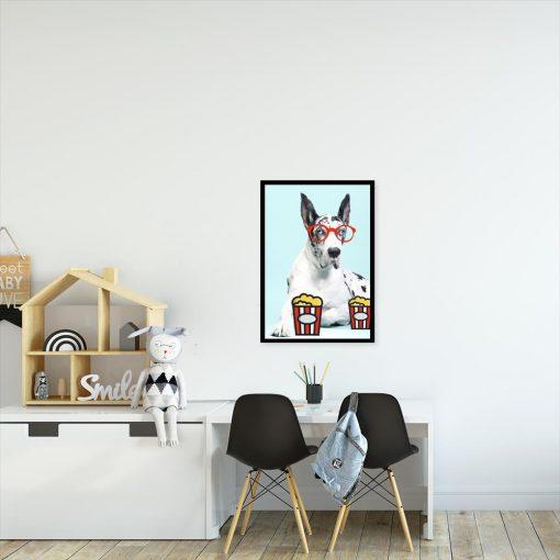plakat z psem w okularach