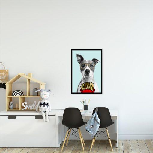 plakat z psem i frytkami