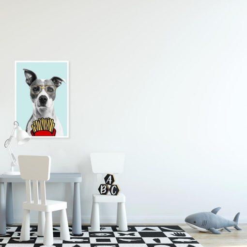 błękitny plakat z psem
