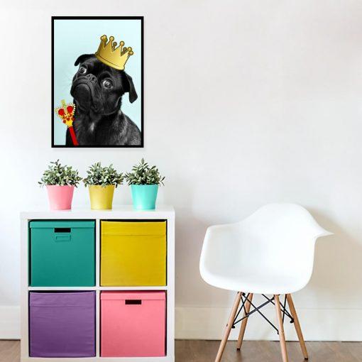 plakat z zabawnym psem