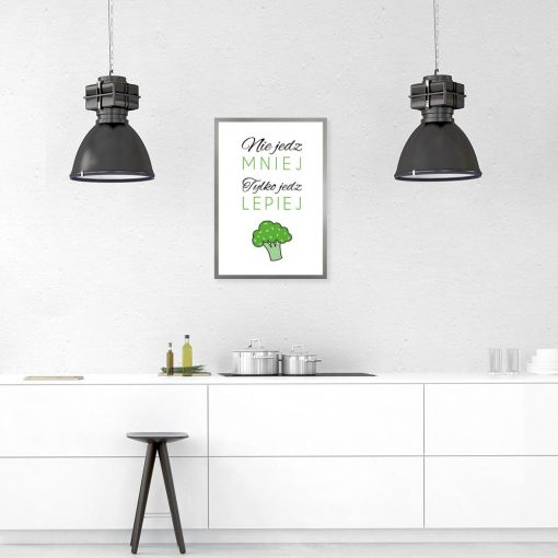 zielono- biały plakat do kuchni
