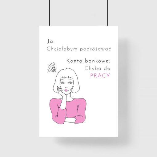 biało- różowy plakat z napisem