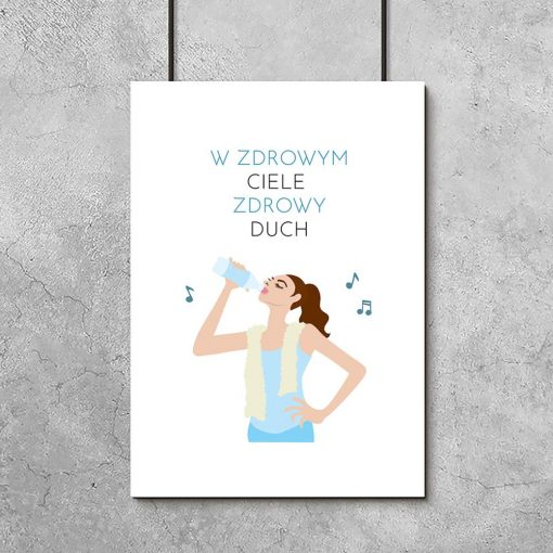 plakat z sentencją i rysunkiem kobiety