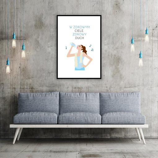 plakat z kobietą pijącą wodę i napisem