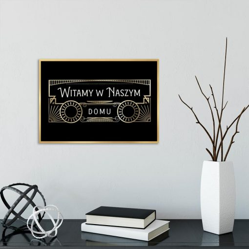 czarny plakat z złotym wzorem