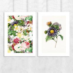 plakat dyptyk z kwiatami