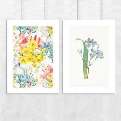 plakat dyptyk z wzorem kwiatowym