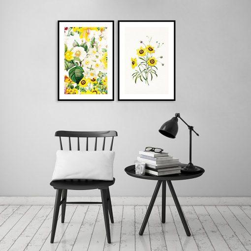 plakat dyptyk w kwiatowy wzór